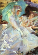 Image: Simplon Pass: Reading by John Singer Sargent